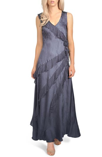 Komarov Asymmetrical Ruffle Charmeuse Gown With Wrap