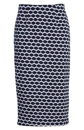 Everleigh Double Knit Pencil Skirt, Blue