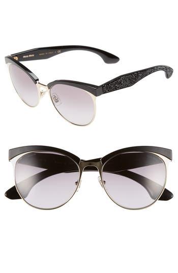 Miu Miu 5m Pave Cat Eye Sunglasses - Black
