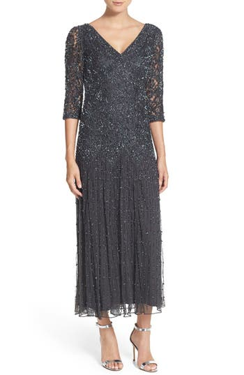 1920s Style Dresses, Flapper Dresses Pisarro Nights Beaded Mesh Dress Size 4 - Grey $132.30 AT vintagedancer.com
