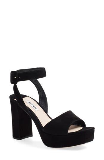 Women's Miu Miu 'Sandali' Ankle Strap Sandal, Size 6.5US / 36.5EU - Black