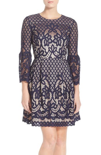 Eliza J Bell Sleeve Fit & Flare Dress, Blue