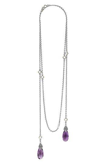 Women's Lagos 'Caviar Color' Semiprecious Stone Lariat Necklace