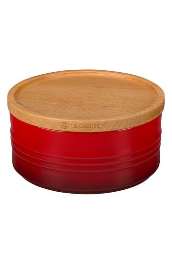 Le Creuset Glazed Stoneware 23 Ounce Storage Canister With Wooden Lid, Size One Size - Red