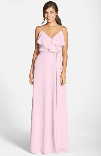 Women's Nouvelle Amsale 'Drew' Ruffle Front Chiffon Gown, Size Large - Pink