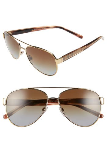 Women's Burberry 57Mm Polarized Aviator Sunglasses -