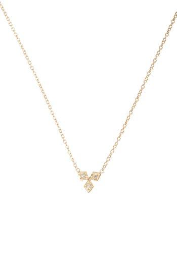 Zoe Chicco Three-Diamond Pendant Necklace