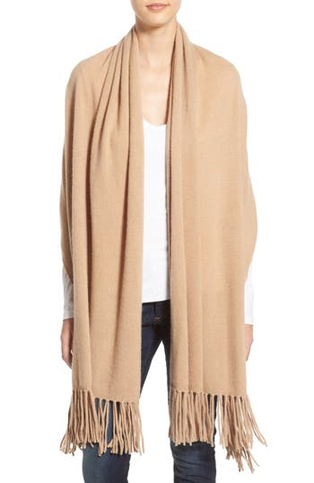 Women's Nordstrom Collection Fringe Cashmere Wrap, Size One Size - Brown