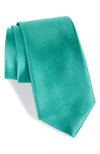 Men's Nordstrom Men's Shop Solid Satin Silk Tie, Size X-Long - Green
