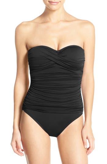 La Blanca Twist Front Bandeau One-Piece Swimsuit, Black
