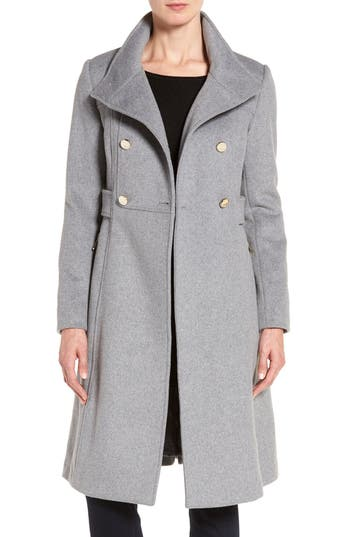 Women's Eliza J Wool Blend Long Military Coat, Size 6 - Grey