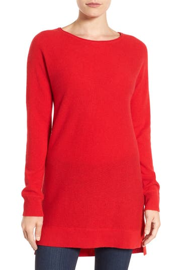 Women's Halogen High/low Wool & Cashmere Tunic Sweater, Size Medium - Red