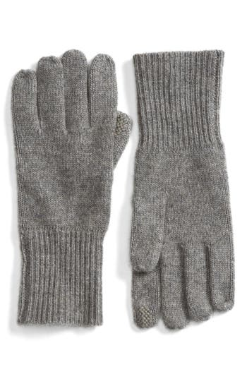 Women's Halogen Rib Knit Cashmere Gloves, Size One Size - Grey