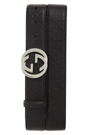 Men's Gucci Logo Buckle Calfskin Leather Belt