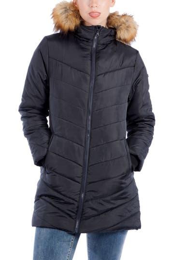 Women's Modern Eternity Faux Fur Convertible Puffer Maternity Jacket