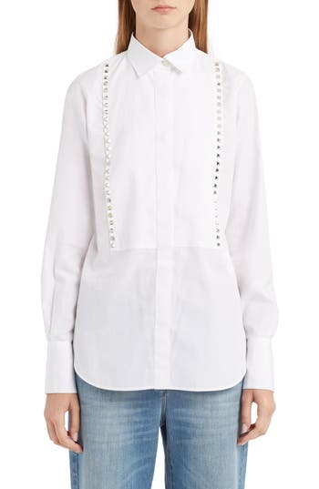 Women's Valentino Rockstud Cotton Poplin Blouse
