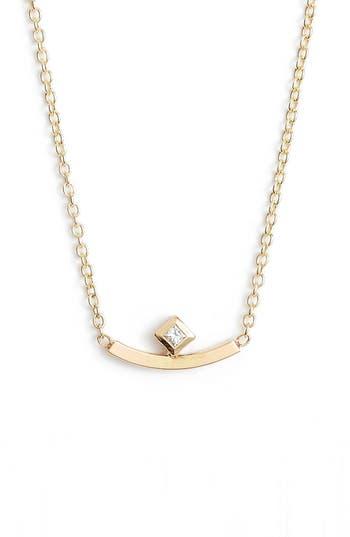 Zoe Chicco Diamond Curved Bar Necklace