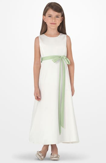 Girl's Us Angels Sleeveless Satin Dress, Size 7 - Green