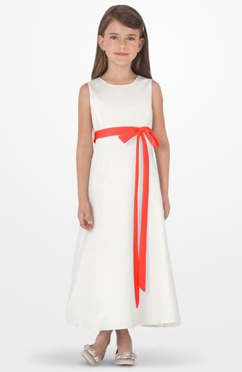 Girl's Us Angels Sleeveless Satin Dress, Size 4 - Orange