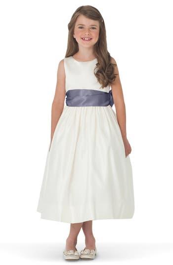 Girl's Us Angels Sleeveless Satin Dress With Contrast Sash, Size 4 - Grey