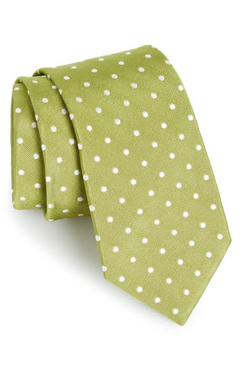 Men's Gitman Polka Dot Silk Tie, Size X-Long - Green