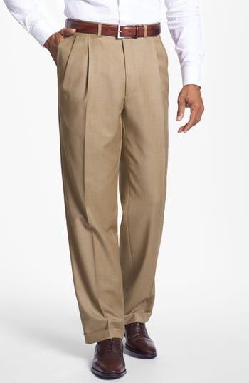 Men's Santorelli 'Luxury Serge' Double Pleated Wool Trousers