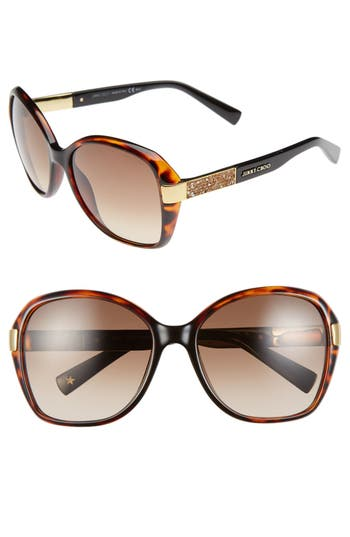 Women's Jimmy Choo 57Mm Butterfly Sunglasses - Dark Havana