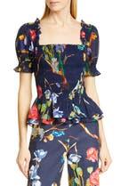 0e2b00ab32f61 Tanya Taylor Floral Smock Detail Square Neck Cotton Blouse (Regular & Plus  Size),