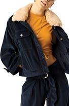 600c6d2dd Stone Row Cut the Cord Faux Fur Collar Corduroy Jacket, Main Image